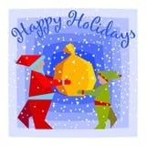 Santa con l'elfo Immagine Stock Libera da Diritti