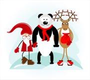 Santa con l'orso ed i cervi Fotografia Stock Libera da Diritti