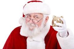 Santa con la Banca Piggy Fotografia Stock Libera da Diritti