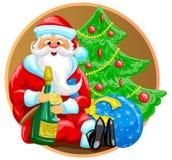 Santa con la bottiglia Immagini Stock
