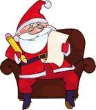 Santa con la lista Fotografia Stock Libera da Diritti