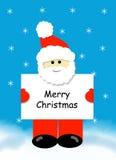 Santa con la muestra de la Feliz Navidad Imágenes de archivo libres de regalías