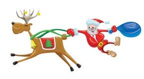 Santa con la renna Fotografia Stock Libera da Diritti