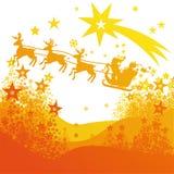Santa con la slitta e la cometa della renna Immagine Stock
