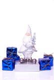 Santa con los presentes en blanco Imágenes de archivo libres de regalías
