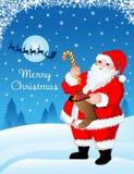 Santa con los regalos stock de ilustración