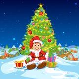 Santa con los regalos de la Navidad Imagenes de archivo