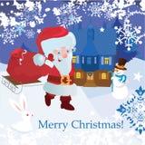 Santa con los regalos, el conejito y el muñeco de nieve    Fotografía de archivo