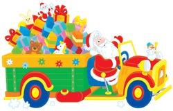 Santa con regali di Natale illustrazione di stock