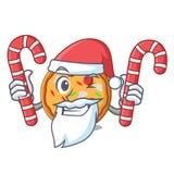 Santa con stile del fumetto della mascotte della pizza della caramella royalty illustrazione gratis