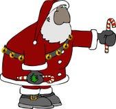 Santa con un bastón de caramelo stock de ilustración