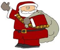 Santa con un sacchetto dei regali royalty illustrazione gratis