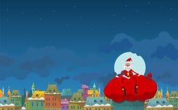 Santa con un sacco Immagini Stock