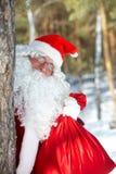 Santa con un saco fotografía de archivo