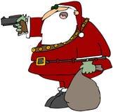 Santa con una pistola Fotografia Stock Libera da Diritti