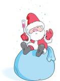 Santa con vetro di vino   Fotografia Stock Libera da Diritti