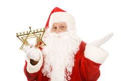 Santa Confused by Menorah Stock Photo