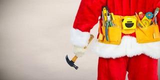 Santa with construction tools royalty free stock photos