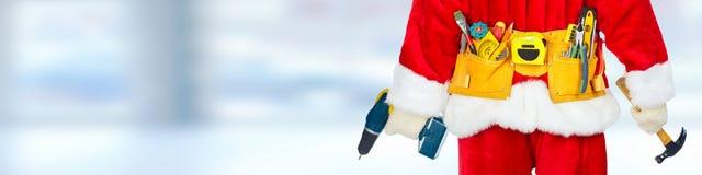Santa with construction tools Royalty Free Stock Photo