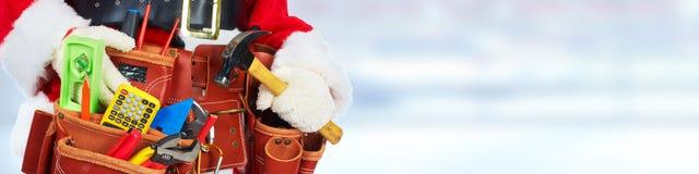 Santa with construction tools Stock Photos