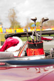 Santa in convertible with golf clubs Stock Photos