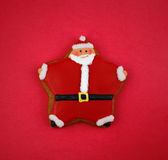 Santa Cookie. On red background stock photography