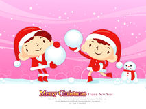 The Santa couple has a snowball Game playing. Christmas Card Des Royalty Free Stock Photography