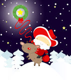 Santa cowboy catching with a lasso a star. EPS. Full editable Stock Photo