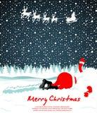 Santa crashed in snow Stock Image