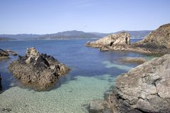 Santa Cristina Beach ; Espasante ; La Galicie Photo stock