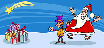 Santa and cristmas elf cartoon card Royalty Free Stock Image