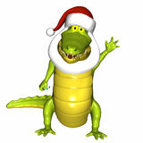 Santa Croc. Crocodile wearing Santa's hat and beard and holding a candycane.  Where's Santa Royalty Free Stock Photos