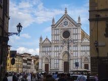 Santa Croce Basilica i den historiska centrumnollan Florence Santa Croce di Firenze - FLORENCE/ITALIEN - SEPTEMBER 12 Fotografering för Bildbyråer