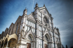Santa Croce cathedral and Dante Alighieri statue in Florence Stock Images