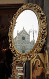 Santa Croce church. Reflect in a mirror in Florence, Italy Stock Image