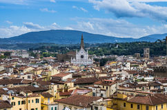 Santa Croce church. A view from the Giotto bell tower in Florence to the santa croce church Stock Photography