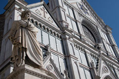 Santa Croce closeup. Close up view of famous church of Santa Croce in Florence (Italy) and Dante's statue Stock Photography