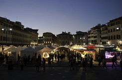 Santa Croce Florencja jarmark Zdjęcia Royalty Free