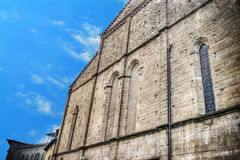 Santa Croce side wall under a blue sky in hdr. Tone mapping Stock Photography