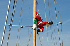 Santa on a cruise. The father christmas is ready to go on cruise Royalty Free Stock Images
