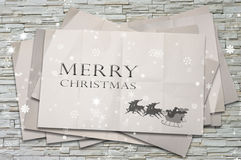 Santa on the Crumpled paper, Christmas concept Royalty Free Stock Images