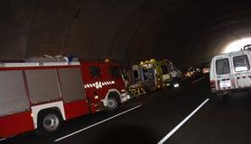 SANTA CRUZ, ИСПАНИЯ - 17-ОЕ ИЮЛЯ: Строгое дорожное происшествие в шоссе Стоковые Фото