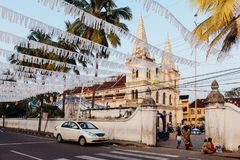 Santa Cruz Basilica before Christmas in Fort Kochi stock photos
