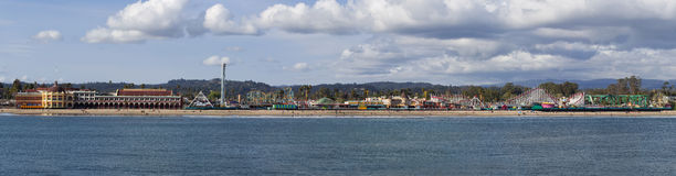 Santa Cruz  Beach Boardwalk. Panorama. Stock Photography