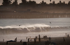 Santa Cruz Beach with high surf Stock Images