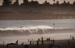 Santa Cruz Beach med hög bränning Arkivbilder