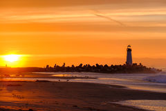 Santa Cruz Breakwater Light Walton Lighthouse no nascer do sol imagem de stock royalty free
