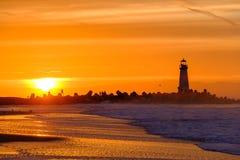Santa Cruz Breakwater Light Walton Lighthouse no nascer do sol foto de stock royalty free