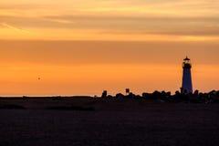 Santa Cruz Breakwater Light Walton Lighthouse no nascer do sol fotos de stock royalty free