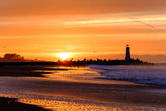 Santa Cruz Breakwater Light Walton Lighthouse at sunrise Royalty Free Stock Image